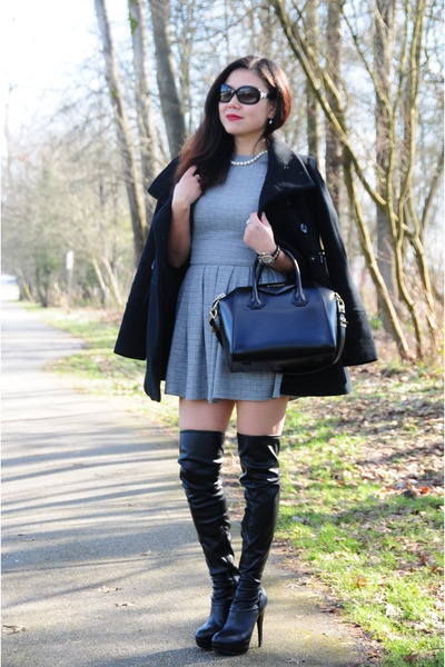 black Guess boots - heather gray Talula dress - black Marc New York coat