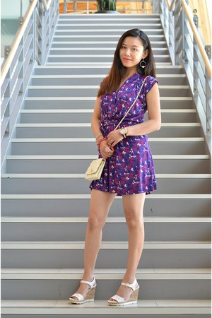 ivory Chanel bag - purple French Connection dress - white Skechers wedges
