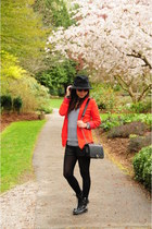 black Aldo boots - red Aritzia blazer - black Chanel bag