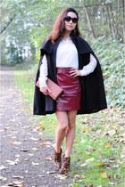 black H&M cape - maroon Zara skirt