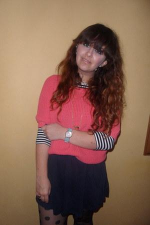 H&M skirt - Topshop jumper - stripe H&M top
