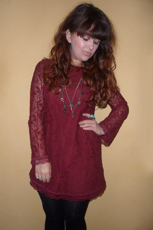 brick red lace Topshop dress