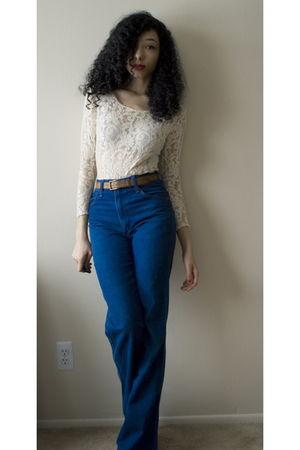 white intimate - brown belt - blue jeans - white Victorias Secret bra