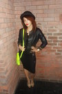 Pencil-new-look-dress-unknown-hat-black-leather-river-island-jacket