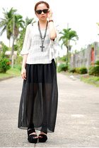 sheer PINKaholic x SDY skirt - knit Forever21 blouse - bandage AsianVogue wedges