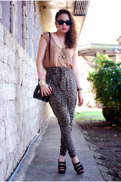 Forever21 pants - Zara bag - Topshop top - Mango heels