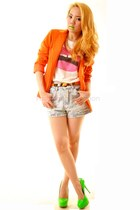 orange pinkaholic blazer - lips pinkaholic shirt - studded pinkaholic shorts