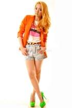 orange pinkaholic blazer - lips pinkaholic shirt - studded pinkaholic shorts