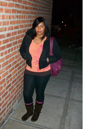 black delias jacket - orange Target top - brown t-shirt - black leggings - purpl