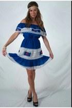 blue cotton fringe thrifted vintage dress