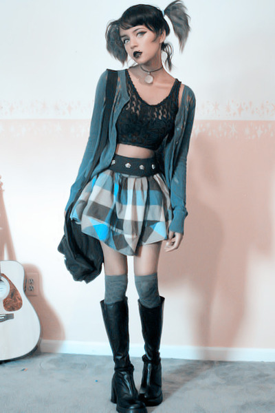 blue pleated skirt - deep blue cardigan