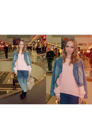 blue Mango jacket - blue Stradivarius jeans - bubble gum H&M sweater