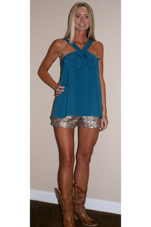 gold sequins Gypsy Junkies shorts - top