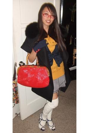 black vintage jacket - blue Forever 21 blazer - gold sweater - skirt - Charlotte