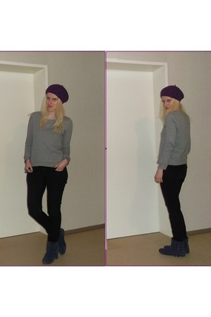 black skinny H&M jeans - purple fringed c&a boots