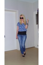 H&M jeans - H&M sunglasses - h&m divided top - h&m divided flats - asos ring