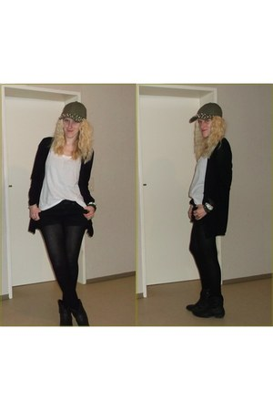 olive green H&M hat - black Deichmann boots - white basic Mango shirt