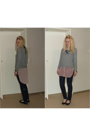 blue skinny H&M jeans - heather gray H&M sweater - light pink H&M blouse