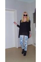 c&a boots - h&m divided leggings - H&M sunglasses - asos ring - H&M cardigan