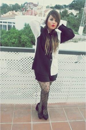 Topshop tights - Primark heels - Topshop skirt - DIY blouse