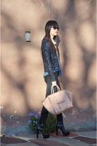 pink tartan jacket - Alexander Wang boots - JCrew jeans - BCBG shirt