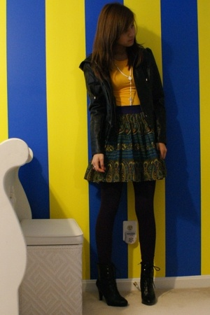 forever 21 jacket - shirt - forever 21 skirt - H&amp;M leggings - payless boots - ne