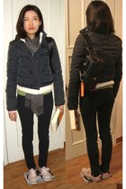 black christian dior bag - white fleece Uniqlo jacket - navy Miu Miu jacket
