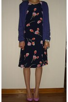 navy tulips print united colors of benetton dress