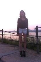 black alaia boots - off white jeans - dark gray Balmain shirt