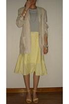 eggshell Liberzen jacket - cream balenciaga sandals - periwinkle H&M t-shirt