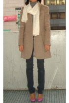 tan Zara coat - gray Sass and Bide jeans - ivory scarf - pink heels