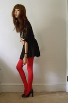 black lace H&M top - red HUE tights - black Forever 21 skirt