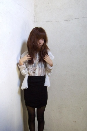 vintage top - The Limited shirt - bailey 44 skirt - CVS tights - payless