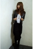 vintage jacket - American Apparel top - skirt - Guess