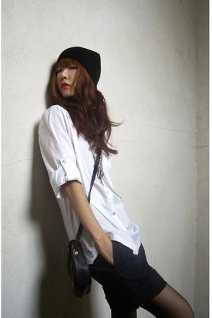 shirt - shorts - vintage purse - Guess
