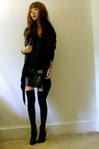 black leather Forever 21 jacket - black Forever 21 sweater - black H&M tights