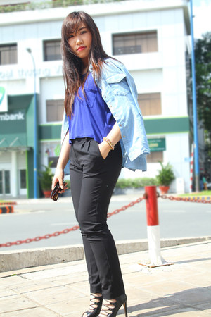 blue Forever 21 top - sky blue JJeans shirt - black next pants