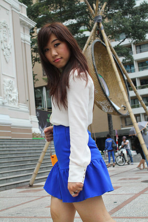 white Mango blouse - carrot orange Forever 21 bag - blue custom made skirt