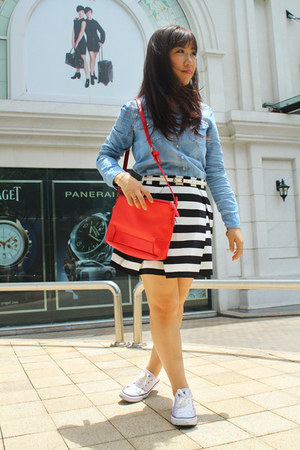 black Forever21 skirt - sky blue JJeans shirt - red Zara bag