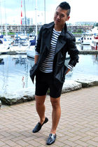 black Burberry coat - black Cheap Monday shorts - black Prada shoes - white H&M