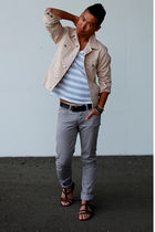 beige Marc by Marc Jacobs jacket - silver Zara shirt - silver H&M pants - brown