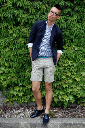 blue Diesel blazer - beige H&M shorts - white H&M shirt - blue Zara shoes - blue