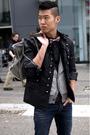 Black-zara-jacket-gray-balenciaga-purse-brown-dr-martens-boots-blue-ra-re-
