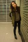 Green-zara-shirt-brown-vest-black-zara-boots-black-jeans