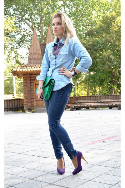 navy Forever 21 jeans - sky blue Tommy Hilfiger shirt - deep purple Zara heels