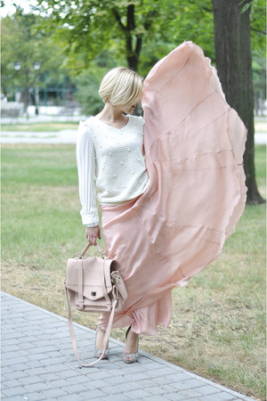 peach silk Celine skirt