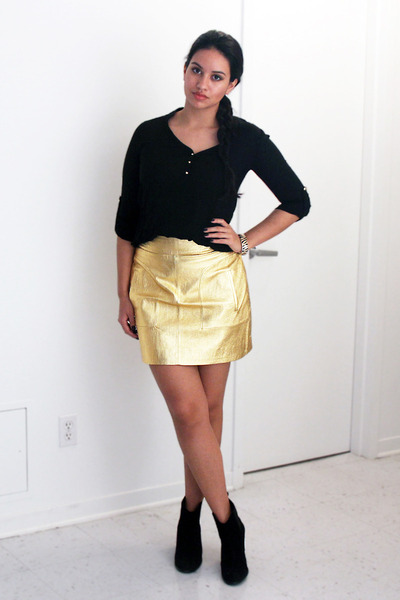 black ankle Zara boots - black romwe shirt - gold leather Zara skirt