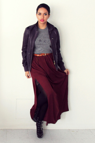 crimson maxi Zara skirt - deep purple leather Diesel jacket - tawny H&M belt
