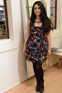 Black-two-toned-zara-boots-black-multi-colored-bb-dakota-dress