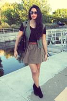 Zara skirt - ankle Zara boots - waist H&M belt - boys thirfted vest